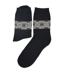 جوراب پشمی طرح هندسی مشکی