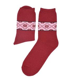جوراب پشمی طرح هندسی قرمز