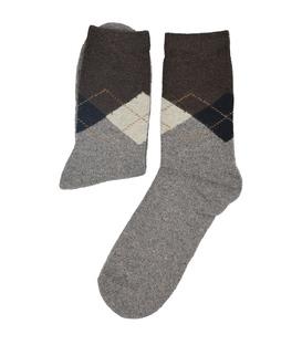 جوراب پشمی Coco & Hana طرح اسکاچ قهوهای
