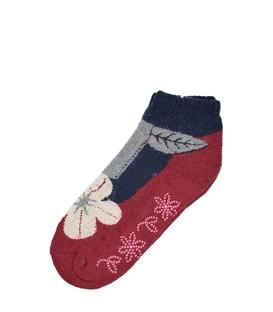 جوراب پشمی نیم ساق XTS کف استپ دار طرح گل و گیاه قرمز سرمهای
