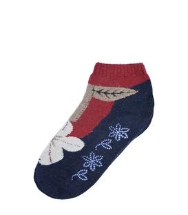 جوراب پشمی نیم ساق XTS کف استپ دار طرح گل و گیاه سرمهای قرمز