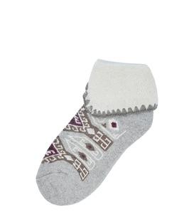 جوراب پشمی نیم ساق XTS لبه برگردان طرح گلیم خاکستری روشن