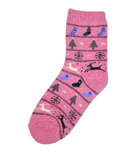جوراب پشمی حوله ای XTS طرح کریسمس صورتی