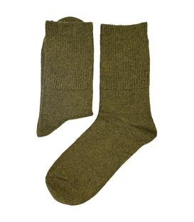 جوراب پشمی آنگورا بافت Coco & Hana ساده سبز زیتونی