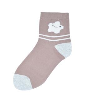 جوراب نیم ساق طرح ستاره پشمالو قهوهای