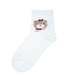 جوراب نیم ساق طرح خرس سرمایی شیری
