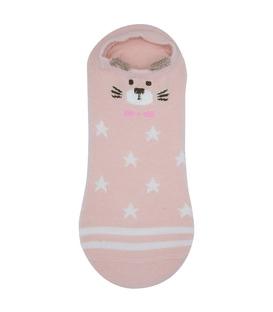 جوراب قوزکی گوشدار طرح گربه خواستگار صورتی