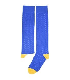 جوراب زیر زانو فانی ساکس طرح خال خالی آبی زرد کد 308