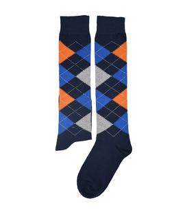 جوراب زیر زانو فانی ساکس طرح لوزی سرمهای آبی خاکستری نارنجی کد 310