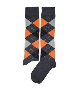 جوراب زیر زانو فانی ساکس طرح لوزی خاکستری نارنجی مشکی کد 310