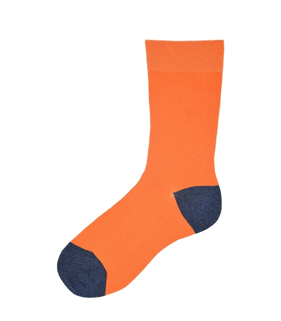 جوراب ساق بلند پاآرا طرح دو رنگ نارنجی سرمهای