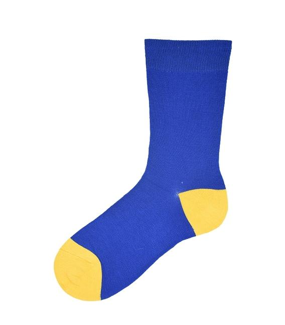جوراب ساق بلند پاآرا طرح دو رنگ آبی زرد