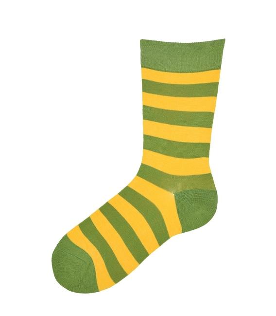 جوراب نانو ساق بلند پاآرا طرح راه راه سبز زرد