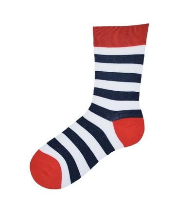 جوراب نانو ساق بلند پاآرا طرح راه راه قرمز سرمهای سفید
