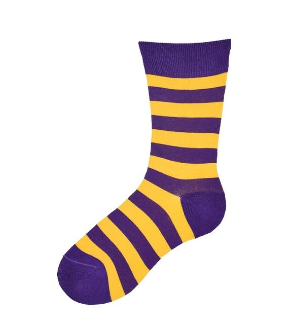 جوراب نانو ساق بلند پاآرا طرح راه راه بنفش زرد