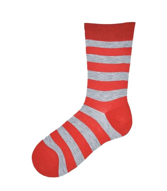جوراب نانو ساق بلند پاآرا طرح راه راه قرمز خاکستری