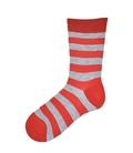 جوراب نانو ساق دار پاآرا طرح راه راه قرمز خاکستری