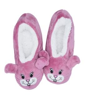 پاپوش پشمی گوشدار کف استپدار طرح خرگوش صورتی