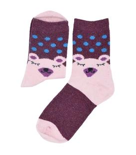 جوراب پشمی طرح خرس خوابیده بنفش