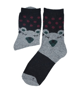 جوراب پشمی طرح خرس خوابیده مشکی