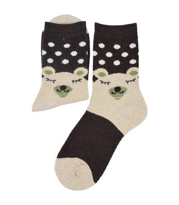 جوراب پشمی طرح خرس خوابیده قهوهای