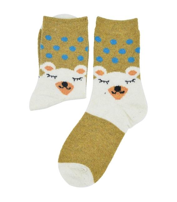 جوراب پشمی طرح خرس خوابیده خردلی