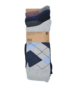 جوراب نخی ساق بلند Cotton Rich مختلف - چهار جفت