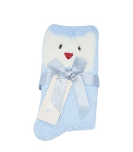 جوراب روفرشی بوکله طرح خرس خندان آبی