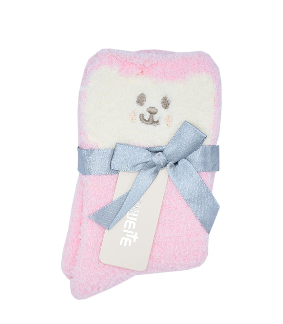 جوراب روفرشی بوکله طرح خرس خوشحال صورتی