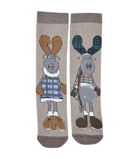 جوراب حولهای طرح خانم و آقای گوزن قهوهای
