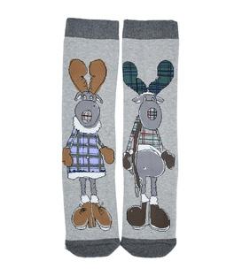 جوراب حولهای طرح خانم و آقای گوزن خاکستری