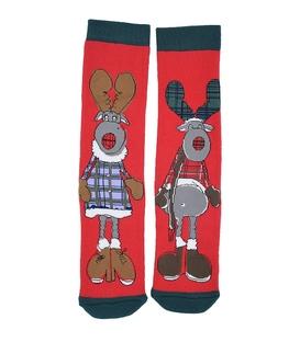 جوراب حولهای طرح خانم و آقای گوزن قرمز