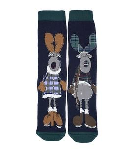 جوراب حولهای طرح خانم و آقای گوزن سرمهای