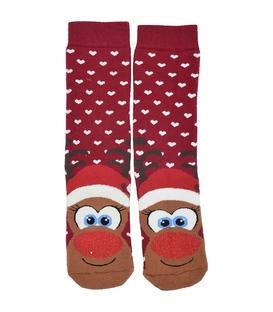 جوراب حولهای طرح گوزن کریسمس قرمز
