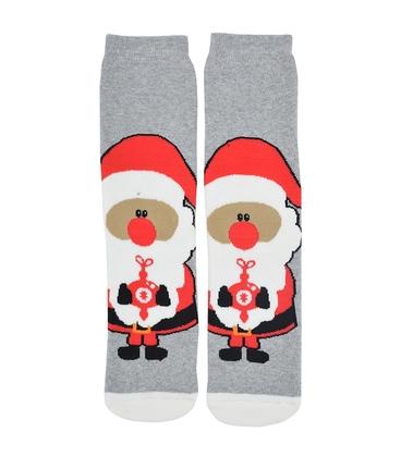 جوراب حولهای طرح بابانوئل خاکستری