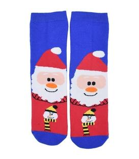جوراب حولهای طرح بابانوئل آبی