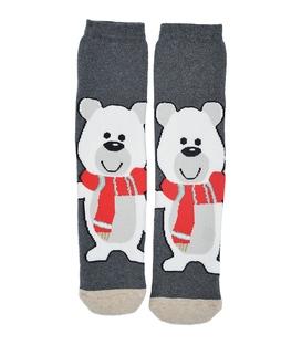 جوراب حولهای طرح خرس سرمایی خاکستری