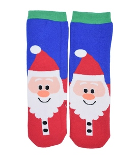 جوراب حولهای طرح بابانوئل آبی سبز