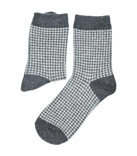 جوراب پشمی Coco & Hana طرح Houndtooth خاکستری