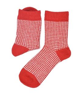 جوراب پشمی Coco & Hana طرح Houndtooth قرمز