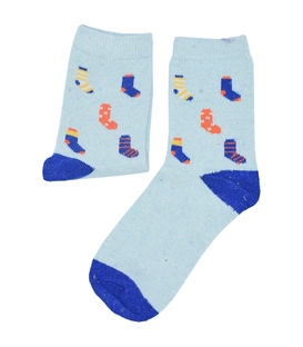 جوراب پشمی طرح جورابی آبی آسمانی