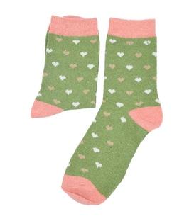 جوراب پشمی طرح قلب سبز