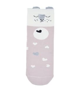 جوراب نیم ساق گوش دار طرح خرس خوابالو سفید کالباسی