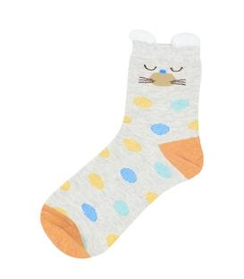 جوراب نیم ساق گوش دار طرح گربه خال خالی نارنجی