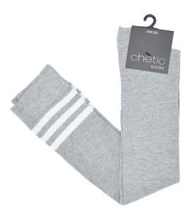 جوراب بالا زانو Chetic چتیک خاکستری خط دار سفید