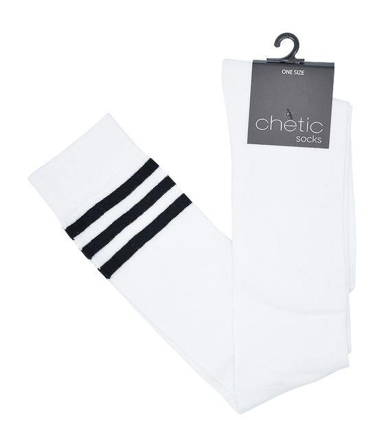جوراب بالای زانو Chetic سفید خط دار مشکی