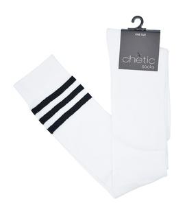 جوراب بالای زانو Chetic چتیک سفید خط دار مشکی
