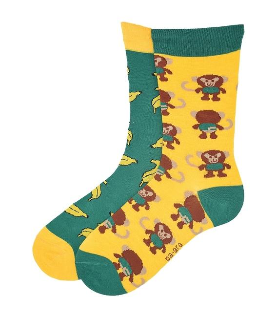 جوراب نانو ساق بلند پاآرا طرح میمون و موز