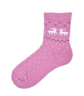 جوراب نیم ساق حولهای طرح دو گوزن کریسمس صورتی