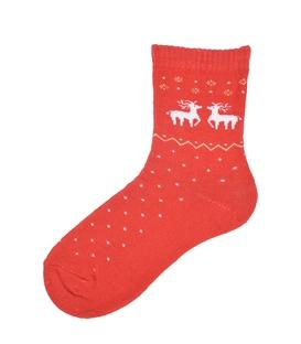 جوراب نیم ساق حولهای طرح دو گوزن کریسمس قرمز